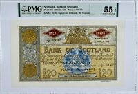 SCOTLAND 94f 1958 20 POUNDS PMG 55 EPQ ***TOP POP *** RARE VAGOLD
