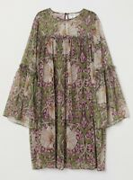William Morris Design Dress Trumpet-sleeved Burgundy Floral H&M Sz 4, 6, 8
