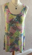 Sandwich Pink Yellow Blue Sleeveless Top Dress Tunic Beach Cover Up S 8/10