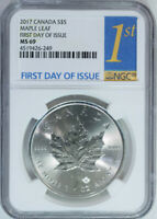 2017 Canada $5 Dollar 1 oz. Silver Maple Leaf NGC MS69 / First Day of Issue