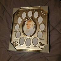 My First Year Baby Photo Frame, Silver Tone 12 Small Windows and 1 Large