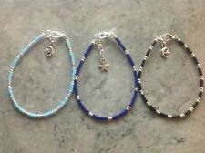 """& Black Glass Seed Bead 9"""" Anklets Three Moon & Star Charm Blue Turquoise"""