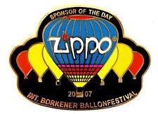 """ZIPPO BALLON Pin / Pins - BORKEN 2007 """"SPONSOR OF THE DAY"""" [3727]"""