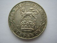 1924 George V silver Sixpence GVF