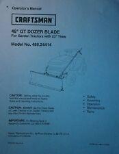 "Craftsman Sears 48"" GT Dozer Blade Lawn Garden Tractor Owner & Parts Manual"