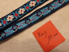 ANCIEN GALON ruban  vintage Fab  FRANCE motif fleurs bleu rouge blanc turquoise
