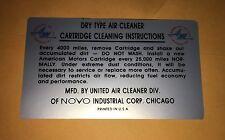 1960 - 1967 AMC RAMBLER AMBASSADOR AMERICAN AIR CLEANER BASE INSTRUCTIONS DECAL