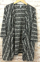 Catherines Cardigan womens 2X open new black white cascading drape 3/4 slv G2