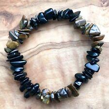 "Black Obsidian & Mugglestone Gem Chip Bead Crystal Bracelet 7"" Strength Energy"