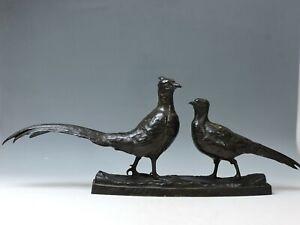 Jugendstil riesige Bronze 72 cm -KRAAS BERLIN -1900 Fasanenpaar Entw. ELSE FÜRST