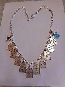 Ten commandments charm necklace - V3