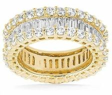 4.01 carat Round & Baguette Diamond Eternity Ring Band Size 4, 14k Yellow Gold