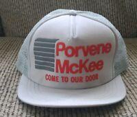 NEW Vintage 1980s PORVENE McKEE ROLL-A-DOOR LOGO Snapback Trucker Mesh Hat Cap