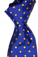 "$150 NWT BARNEY'S NEW YORK Royal Blue w/ Gold Spots 3.5"" woven silk tie ITALY"