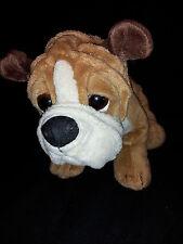 "Brown Bulldog Puppy White Black Nose Soft Plush Bean Bag Lovey 12"" Toy"