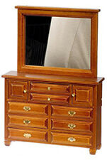 Dolls House Miniature 1:12th Scale Large Walnut dresser with Mirror