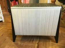Retro Vintage Blanket Box Vinyl Seat Ottoman Chest Trunk Stool stripes black gc