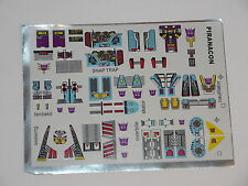Transformers G1 Replacement Decal Sheet - Piranacon Seacons COmbiner Set