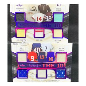 """2019 LEAF IN THE GAME USED """"THE TEN"""" #/9 MUHAMMAD ALI ARNOLD PALMER MANTLE *READ"""