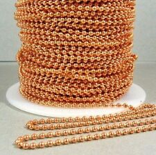 100 Feet 2.4mm Solid COPPER BALL CHAIN #3 BULK Footage Made in USA + 100 clasps