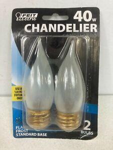 Feit Electric 40 Watt Flame Tip Frost Chandelier Bulb. Standard Base. #BP40EFF