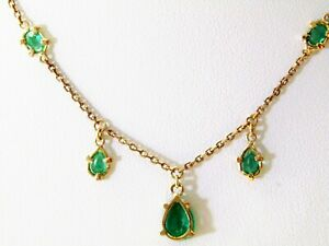 18 cts gold necklace with Colombian emeralds