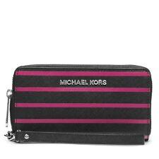 Michael Kors Jet Set Travl Rayure Noir + Rose, Saffiano, Housse de Portable,