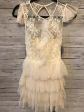 Pearl Georgina Chapman of Marchesa Ivory Lace Dress Size 0 Ruffle Open Back