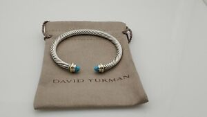 David Yurman Classic Cable 5mm Bracelet With 14K Gold & Turquoise size small