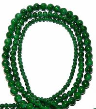 """G2150 3-Strands Marbled Dark Green with Black 4mm 6mm 8mm Round Glass Bead 32"""""""