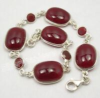 """925 Sterling Silver RED FIRE CARNELIAN WELL MADE Heavy Bracelet 8.3"""" NEW"""