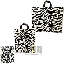 More details for new strong plastic carrier bags zebra printed strong handle pack of 50