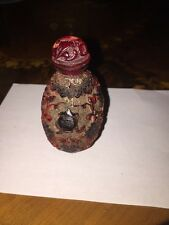 CHINESE RED CINNABAR LACQUER CARVED PRECIOUS OBJECTS SNUFF BOTTLE