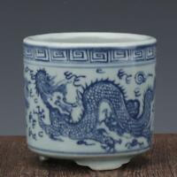 China antique Porcelain Ming wanli blue white hand painting dragon Pen container