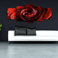 Hand Paint Canvas Oil Painting Abstract Wall Art Home Decor Red Rose No Frame
