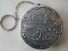 Antique Silver T Dutch Holland Windmill Figural Scene Finger Ring Dance Compact