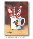 Peppermint Sticks in a Holly Mug ACEO Original Painting Small Size Holiday Art