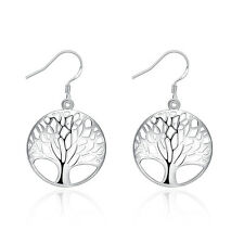 Sterling Silver Plated Earrings Drop Dangle Fish Hook Tree Of Life 96 L407