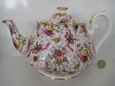 RARE VINTAGE ROYAL ALBERT OLD COUNTRY ROSES RUBY CELEBRATION TEAPOT PRETTY PINK