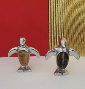 Vintage Silver Coloured Metal Penguins x 2 with Semi-Precious Stones