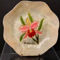 Vintage Capiz Shell Bowl Orchid Boho Decor Hawaii Souvenir
