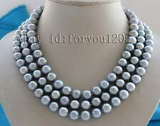 luster 3rows Genuine Natural 11mm Gray Round Pearl Necklace 9K #f2468!