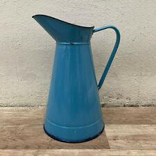 Vintage French Enamel pitcher jug blue water enameled 04031916
