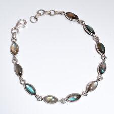 """Natural Spectrolite Labradorite Marquise Gems 925 Sterling Silver Bracelet 8"""""""