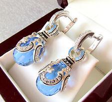 SALE !  BLUE TOPAZ TOPAZ EARRINGS HANDMADE OF STERLING SILVER 925  with ENAMEL