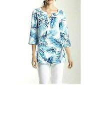 J Jill Top XS Aqua Blue Palm Tree Tropical Linen Beach Cruise NEW May Fit Small