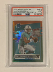 Tua Tagovailoa 2020 Donruss Optic Preview Red And Green Prizm PSA 9 Rookie Mint