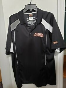 Harley Davidson Shirt Mens Daytona Rossmeyer Black Collar Poly Golf Polo L