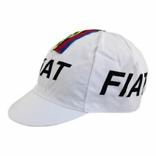 FIAT Eddy Merckx World Champion Cycling Cap - White W/ Rainbow Bands Stripes