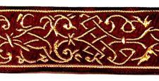 0,78€/m 10m Elizabethan Borte Webband 35mm breit Farbe: Bordeaux-Gold